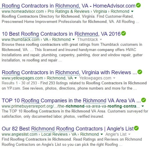 screen shots of google organic results for roofers in richmond